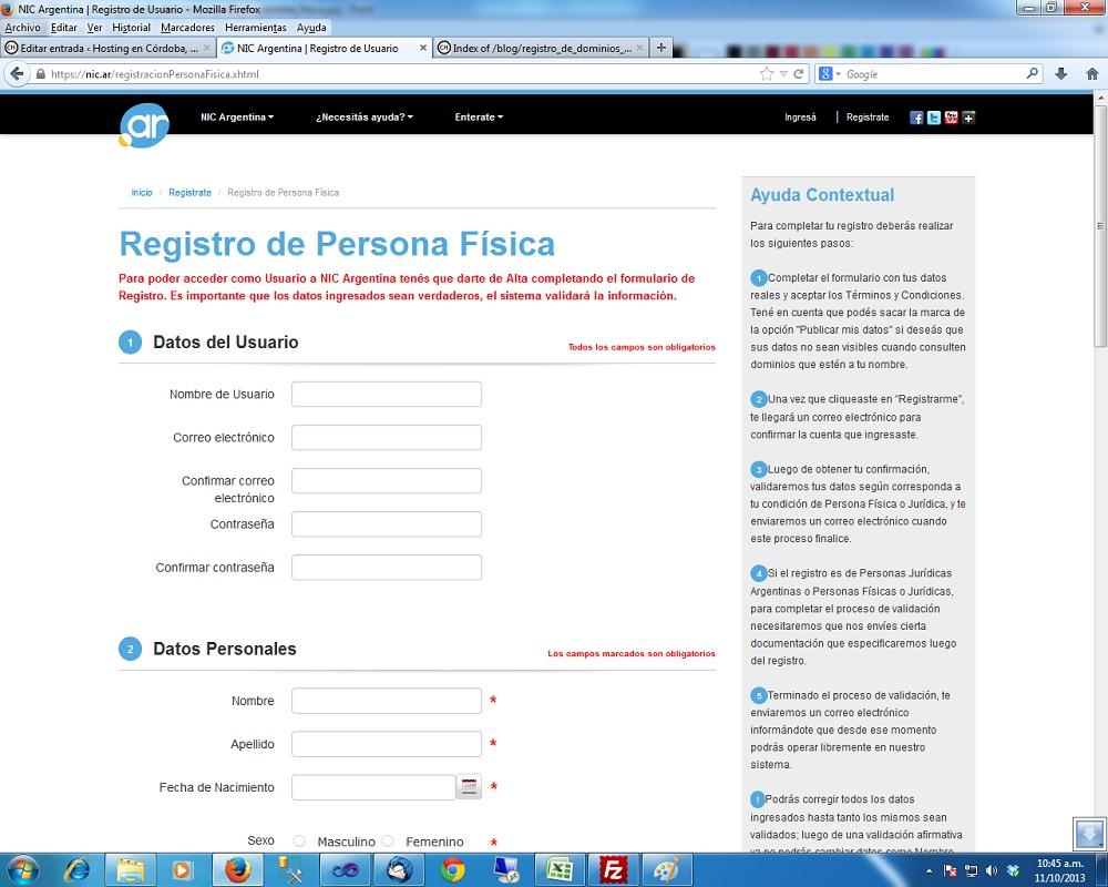 El registro del dominio de tu p gina web los cambios en for Paginas de espectaculos argentina