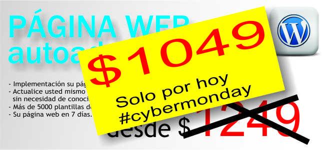 Solo por hoy página web autoadministrable $1049. #cybermonday