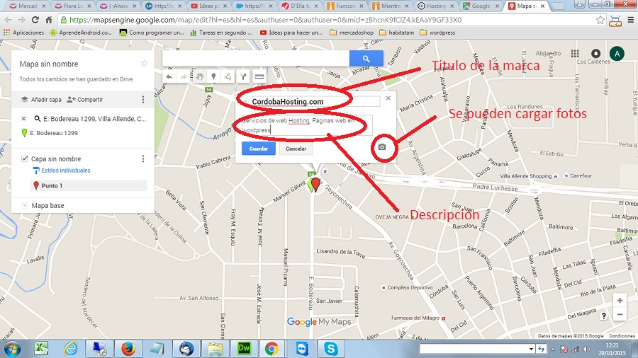 descripcion de un punto en google maps