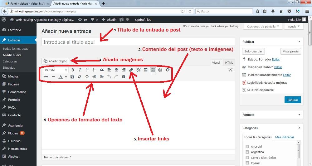 Resultado de imagen para wordpress añadir post
